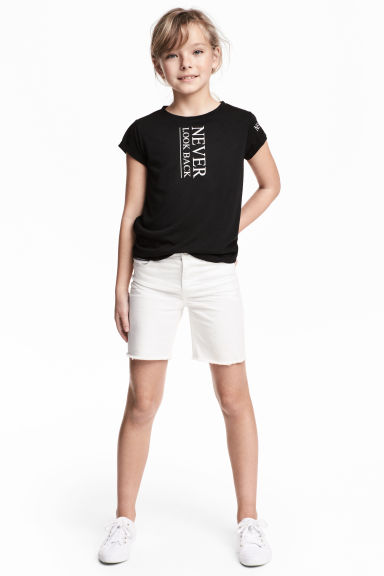 Long twill shorts - White -  | H&M