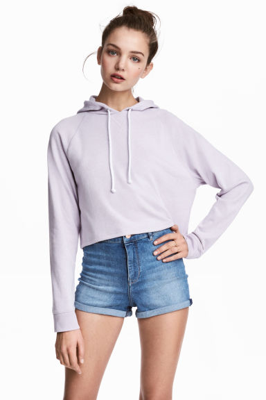 Cropped hooded top - Lilac -  | H&M