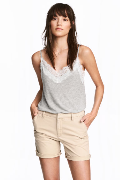 Cotton shorts - Light beige - Ladies | H&M IE