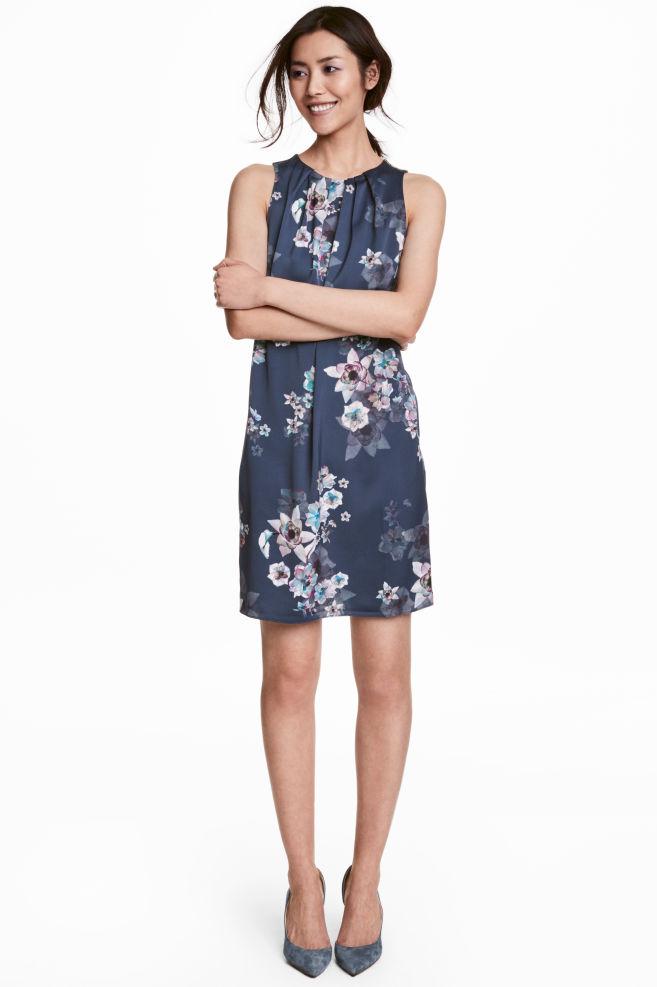 a0bbb8e73f Vestido corto de satén - Azul oscuro Floral - MUJER