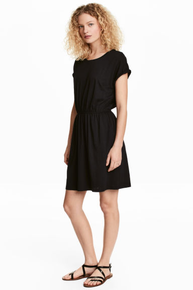 Short-sleeved jersey dress - Black - Ladies | H&M GB
