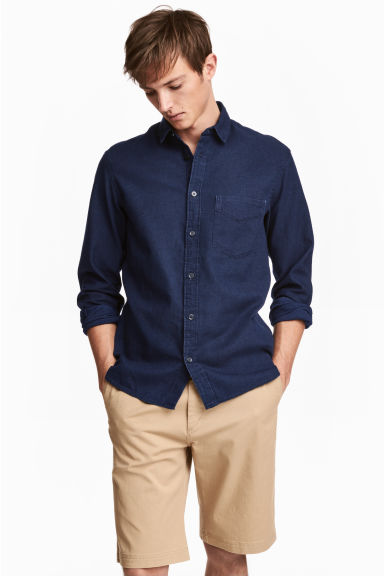 Cotton shirt Regular fit - Dark denim blue -  | H&M