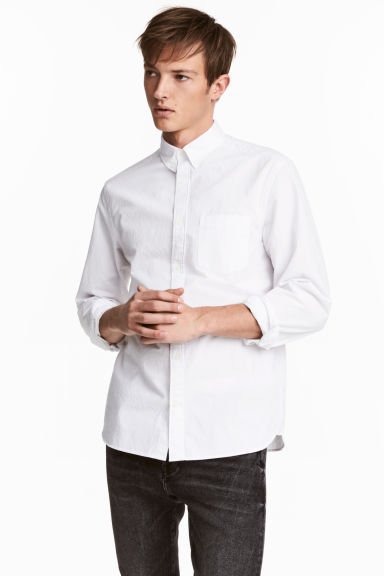 Seersucker shirt Regular fit - White -  | H&M