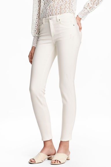 Slim Cropped Regular Jeans - Natural white - Ladies | H&M