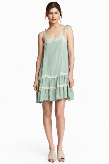 Sleeveless dress with lace - Dusky green -  | H&M