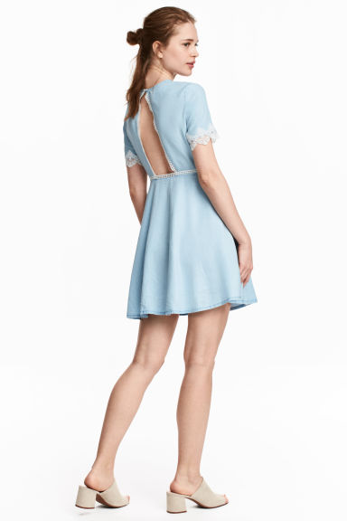 Short dress - Light denim blue - Ladies | H&M CN