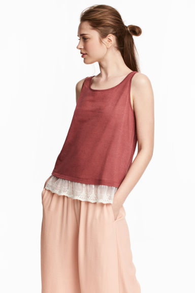 Lace-trimmed vest top - Terracotta -  | H&M CN