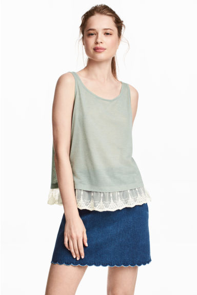 Lace-trimmed vest top - Dusky green - Ladies | H&M