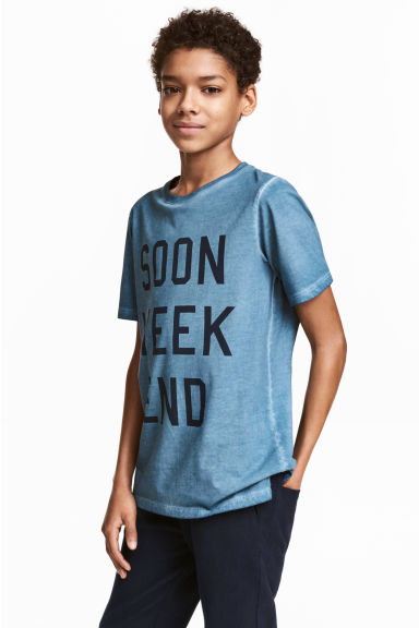 Printed T-shirt - Blue washed out - Kids | H&M GB