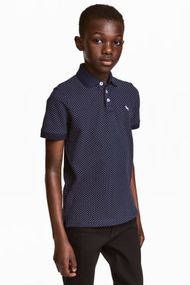 Polo shirt - Dark blue/Spotted - Kids | H&M CN