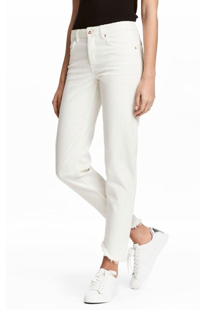 42c7c560841 Straight Cropped Jeans - White - Ladies   H&M ...