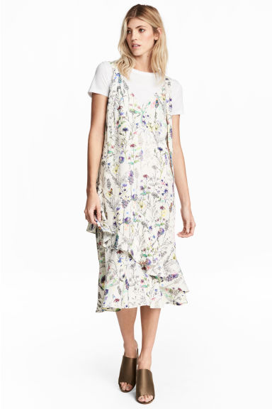 Crêpe dress - Natural white/Floral - Ladies | H&M GB
