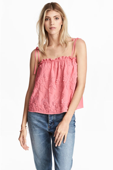 Embroidered top - Pink/Floral - Ladies | H&M