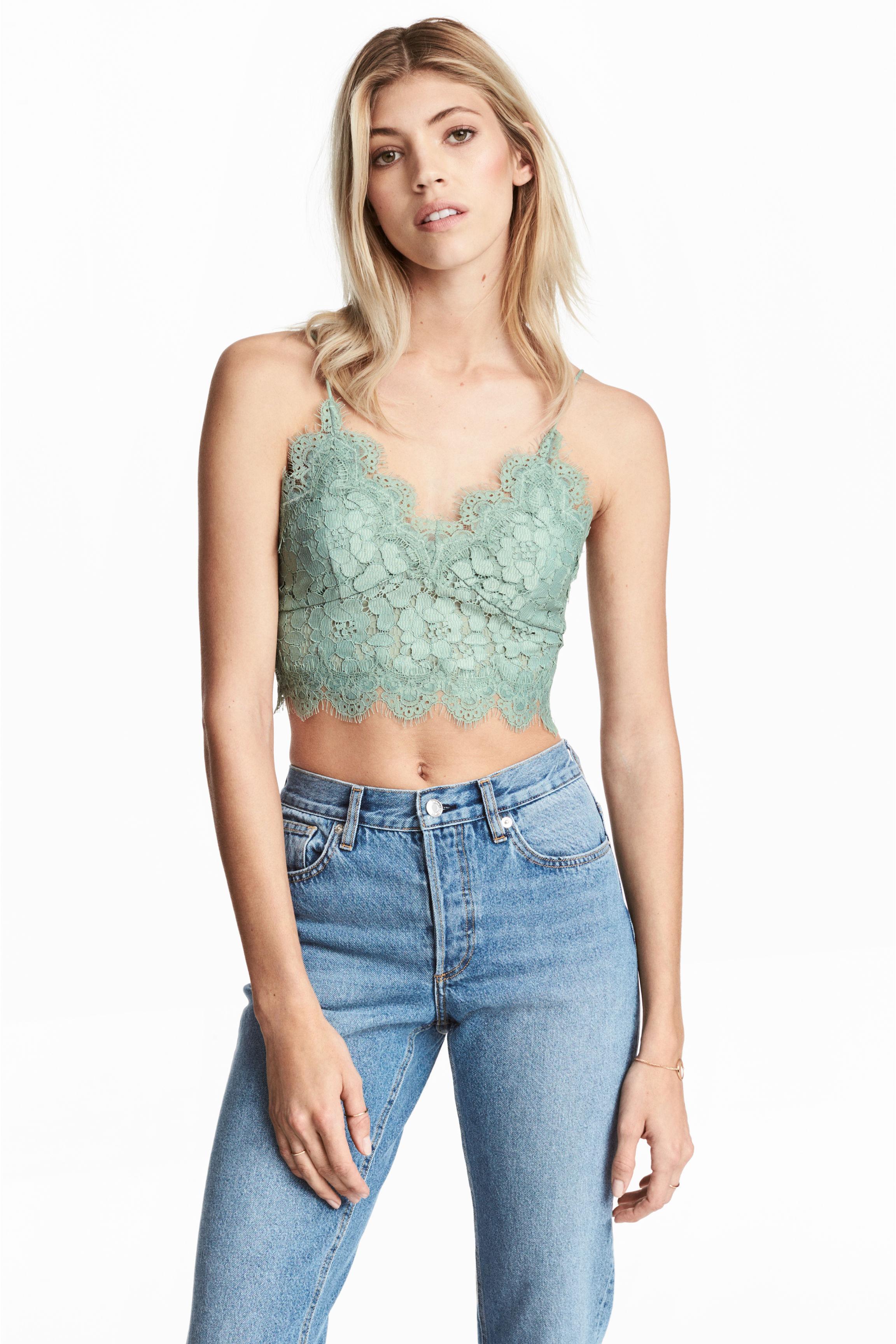 Bustier en dentelle - Vert menthe - FEMME | H&M FR 1