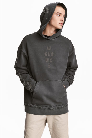 Printed hooded top - Black washed out - Men | H&M