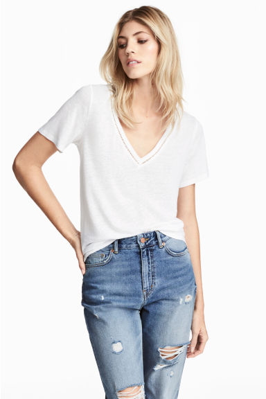 T-shirt in a linen blend - White - Ladies | H&M CN