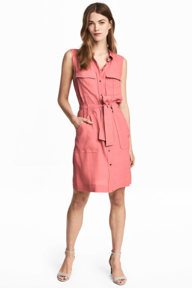 Sleeveless shirt dress - Pink -  | H&M GB