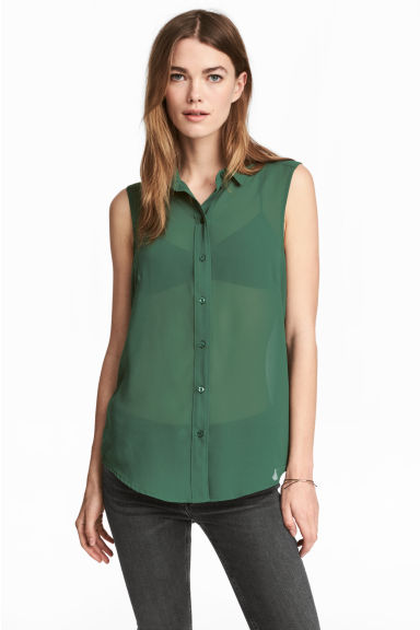 Sleeveless blouse - Dark green -  | H&M