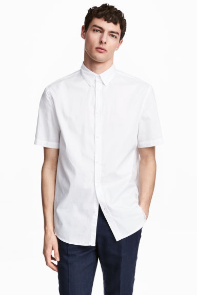 Short-sleeved shirt Slim fit - White -  | H&M