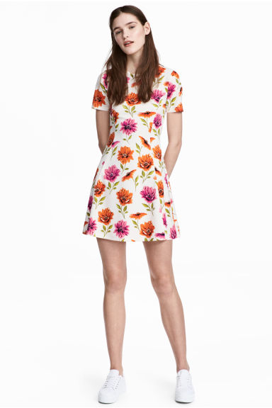 Jersey dress - White/Floral - Ladies | H&M