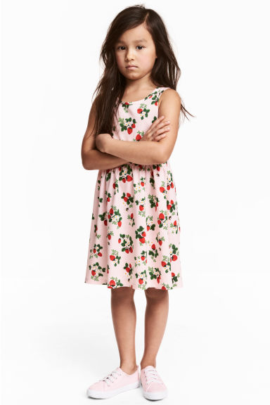 Patterned jersey dress - Light pink/Strawberries - Kids | H&M GB