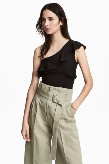 One-shoulder top - Black -  | H&M