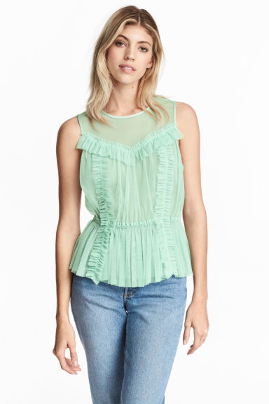 Frilled mesh blouse - Mint green - Ladies | H&M CN
