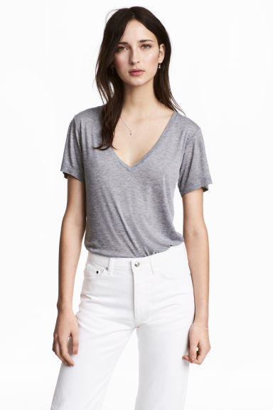 Silk-blend top - Grey marl -  | H&M CN