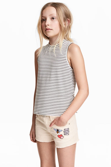 Sleeveless top - White/Striped - Kids | H&M CN