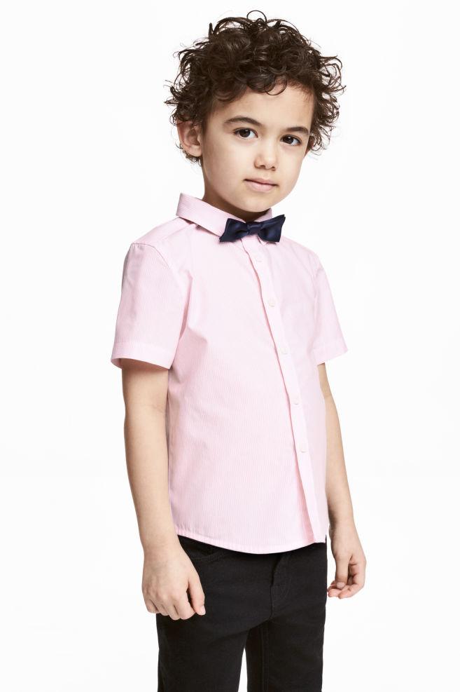 2cb08d7b4f70 Shirt with tie/bow tie - Light pink - Kids | H&M ...