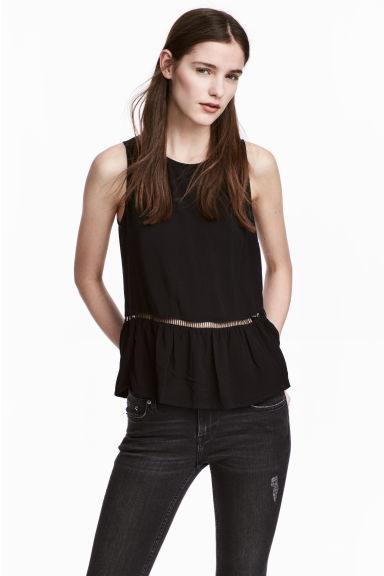 Hemstitch-embroidered top - Black -  | H&M CN
