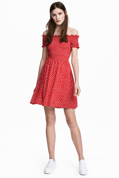 Dress with smocking - Red/Spotted - Ladies | H&M GB