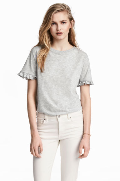 Jersey top - Grey marl -  | H&M
