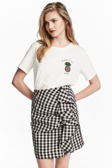 荷葉邊短裙 - Black/White/Checked - Ladies | H&M