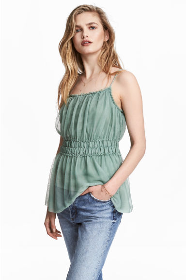 Mesh strappy top - Dusky green -  | H&M