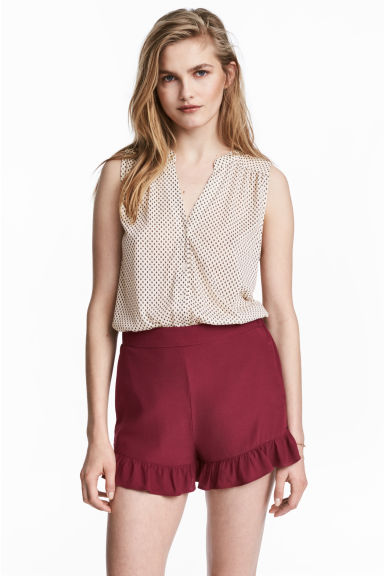 Frill-trimmed shorts - Burgundy -  | H&M