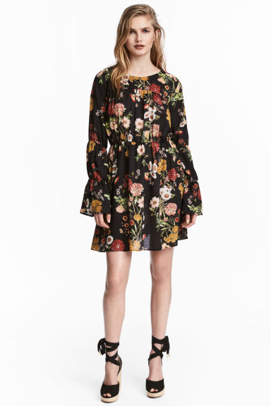 印花洋裝 - Black/Floral - Ladies | H&M