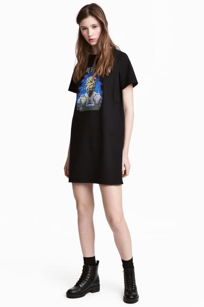 95c36c61d6e0 T-shirt Dress with Motif - Black/Iron Maiden - Ladies | H&M US