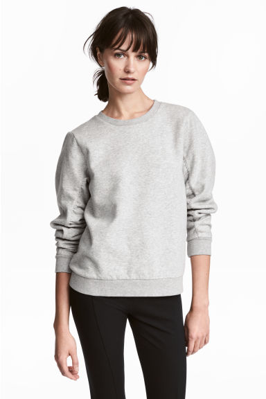 Gathered-sleeve sweatshirt - Grey marl - Ladies | H&M