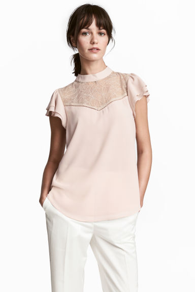 Blouse with a lace yoke - Powder -  | H&M