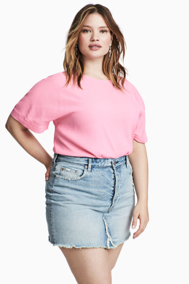 H&M+ Crêpe top - Pink - Ladies | H&M CN