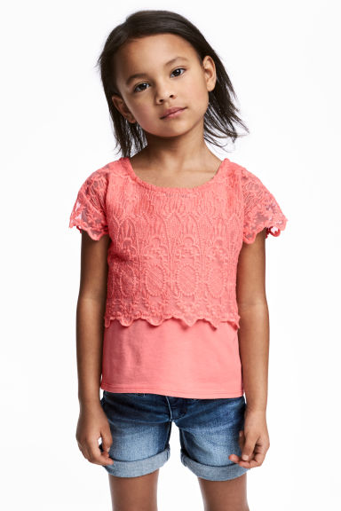 Lace top - Light coral - Kids | H&M CN
