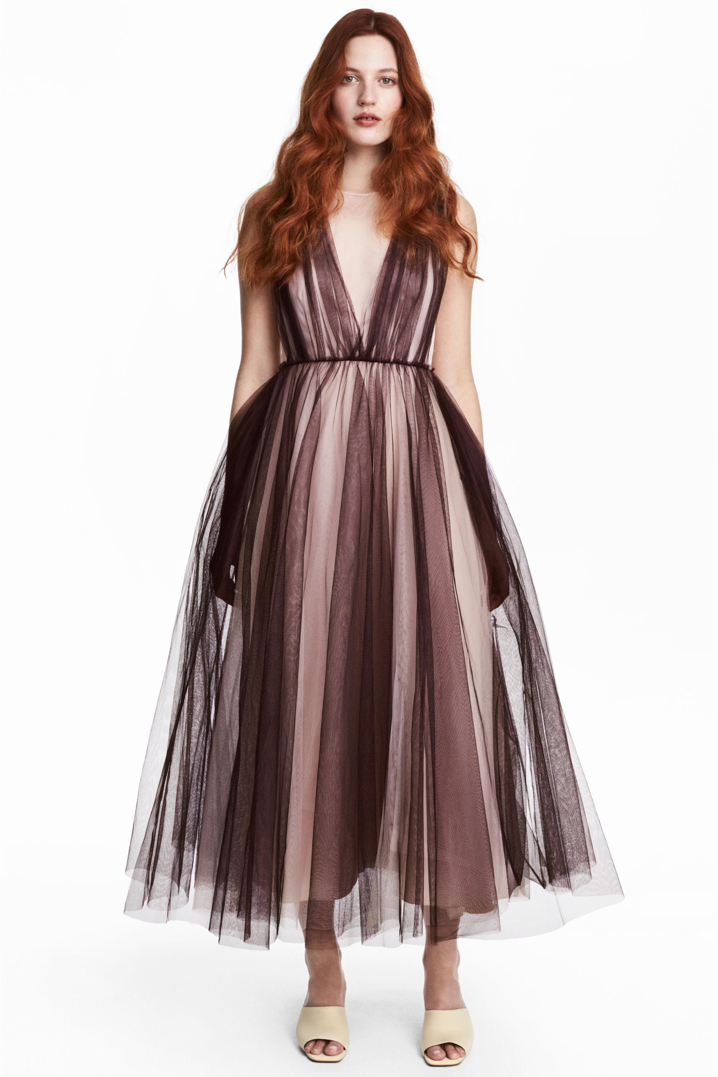e56fa524f51deb Tiulowa sukienka - Śliwkowy/Pudrowy - ONA | H&M PL