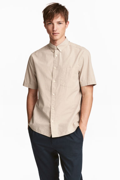Short-sleeve shirt Regular fit - Beige - Men | H&M