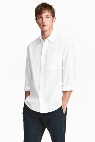 Cotton shirt Relaxed fit - White - Men | H&M