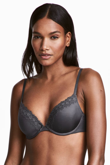 Microfibre push-up bra - Dark grey -  | H&M