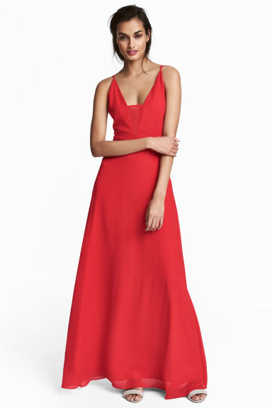 Long chiffon dress - Red - Ladies | H&M