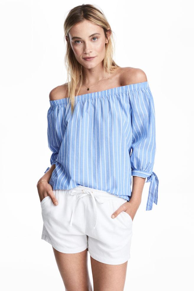 c6c938f3180 Off-the-shoulder blouse - Light blue/Striped - Ladies | H&M GB