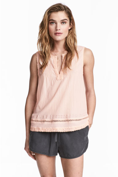 Crinkled cotton top - Powder pink - Ladies | H&M CN