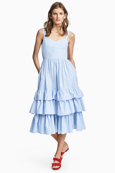 Cotton poplin dress - Light blue - Ladies | H&M